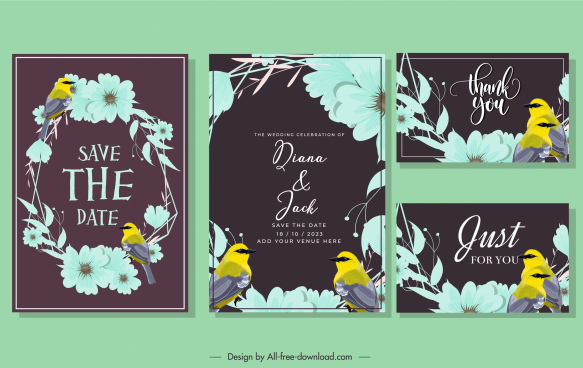 wedding card template dark classic birds wreath decor