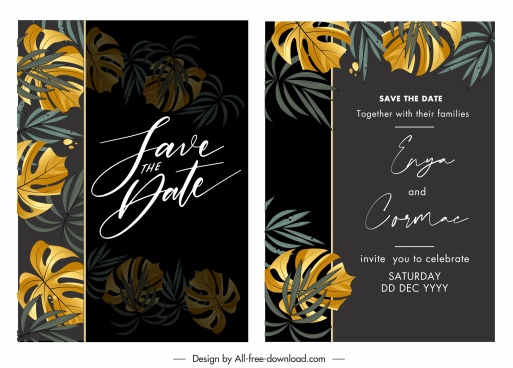 wedding card template dark design elegant classic leaves