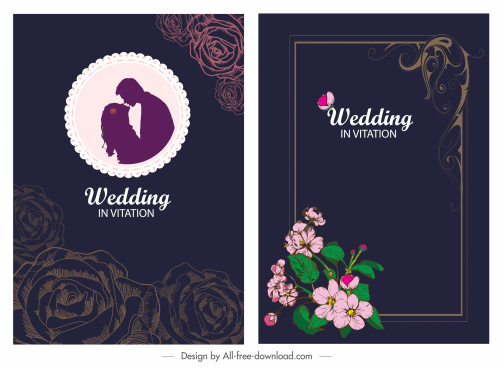 wedding card template dark elegant design floral decor