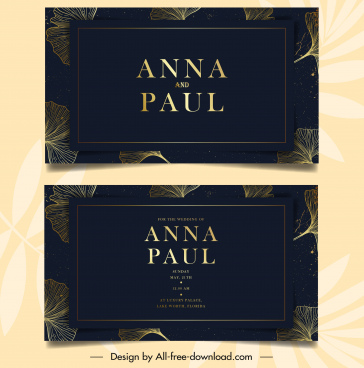 wedding card template dark elegant design petals sketch