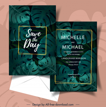 wedding card template dark green luxuriant leaves decor