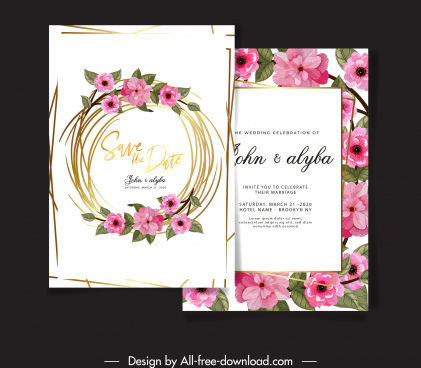 wedding card template elegant blooming flowers wreath decor