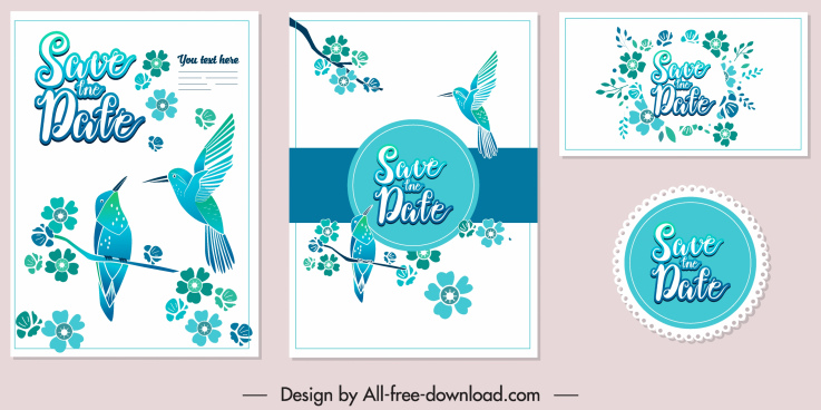 wedding card template elegant blue birds floral decor