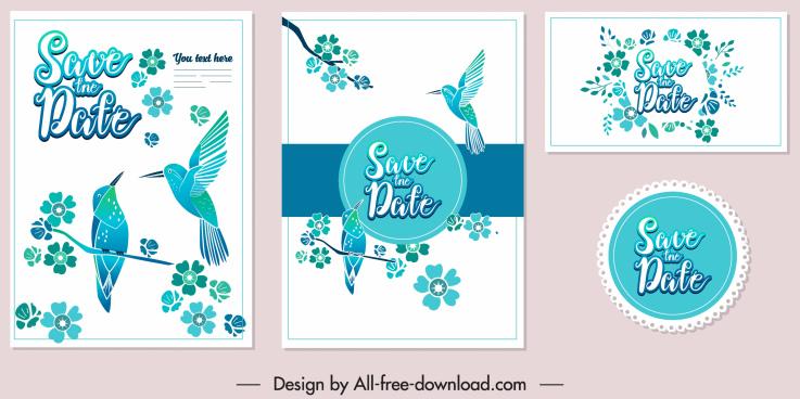 wedding card template elegant blue birds floral decor