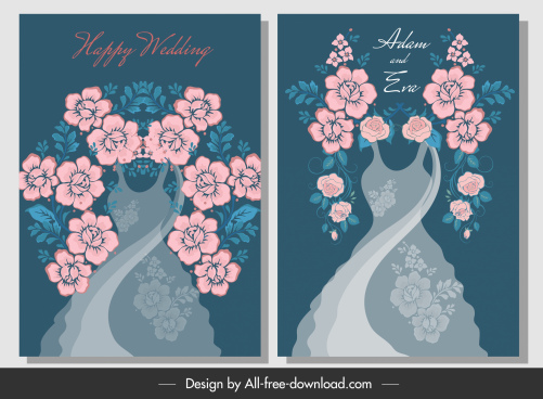 wedding card template elegant bride dress floral decor