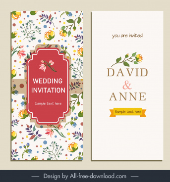 wedding card template elegant bright colorful botanical decor