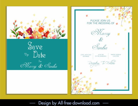 wedding card template elegant bright colorful floral decor