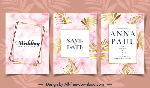 wedding card template elegant bright flowers leaves decor