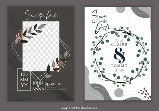 wedding card template elegant classic design wreath decor