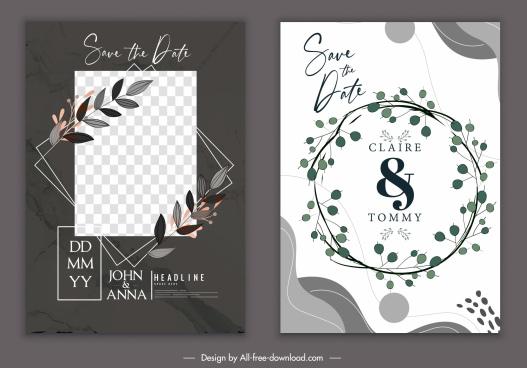 wedding card template elegant classic design wreath decor