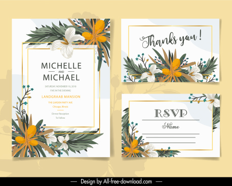 wedding card template elegant classic floral decor