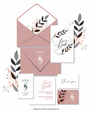 wedding card template elegant classic handdrawn leaves decor