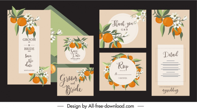 wedding card template elegant classic orange fruit decor
