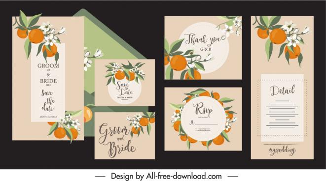 wedding card template elegant classic orange fruit decor