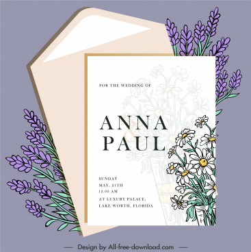 wedding card template elegant classical botanical decor