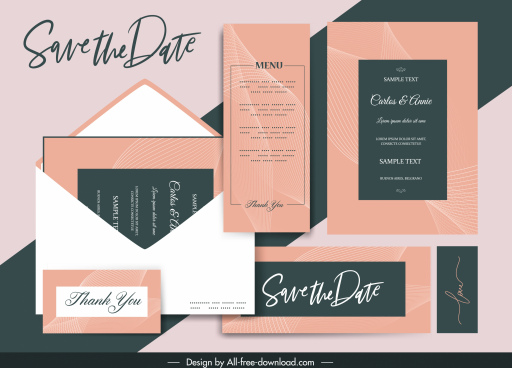wedding card template elegant classical curves lines decor
