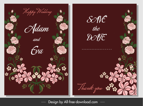 wedding card template elegant classical floral decor
