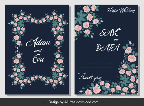 wedding card template elegant classical floral frame decor