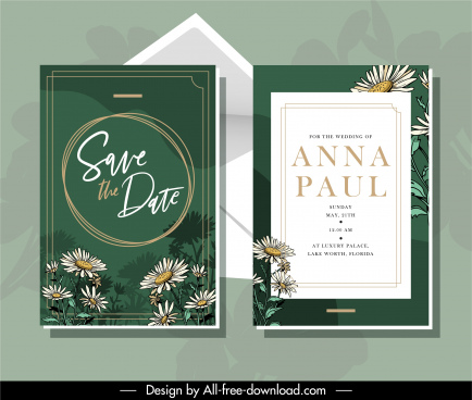 wedding card template elegant classical flowers decor