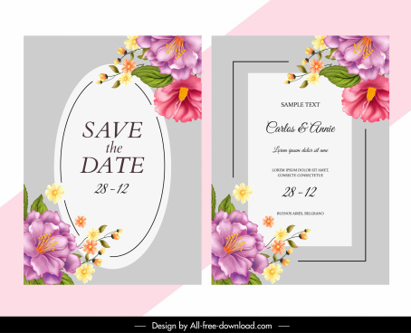 wedding card template elegant colorful floras decor