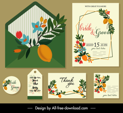 wedding card template elegant colorful leaves fruit decor
