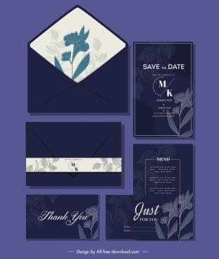 wedding card template elegant dark design botanical decor