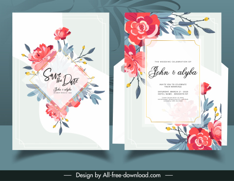wedding card template elegant floral decor classic design