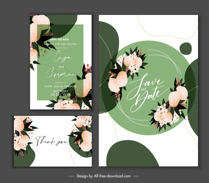 wedding card template elegant floral handdrawn decor