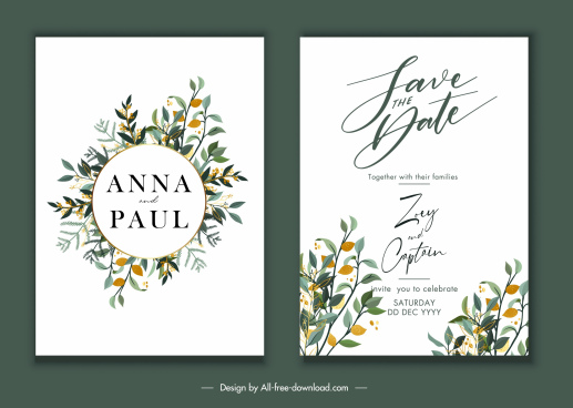 wedding card template elegant flowers decor