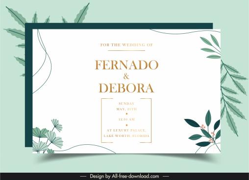 wedding card template elegant leaves decor bright classic
