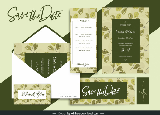 wedding card template elegant retro green leaves decor