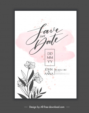 wedding card template elegant retro handdrawn botanical decor