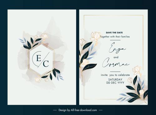 wedding card template elegant vintage botanical decor