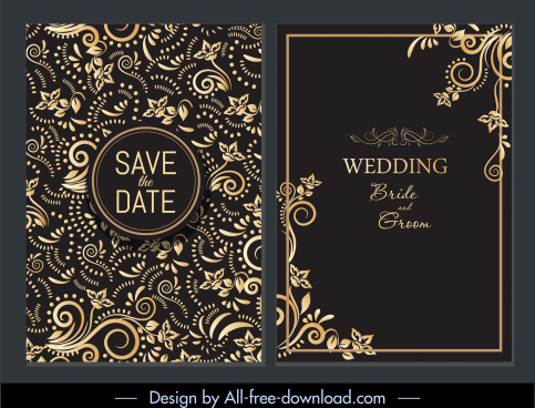 wedding card template european elegant dark curves decor