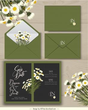 wedding card template floral decor elegant green black