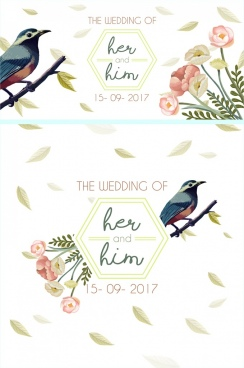 wedding card template flowers sparrow icons multicolored decor