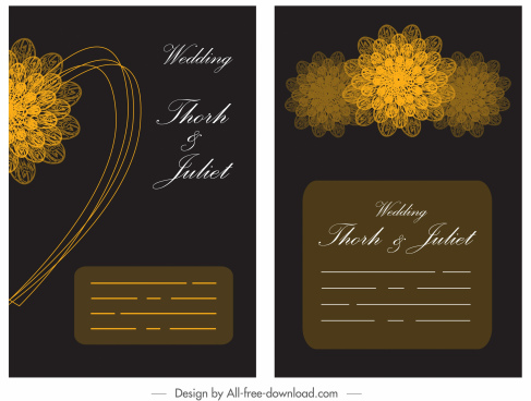 wedding card template golden black petals decor