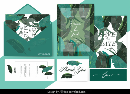 wedding card template green leaf decor blurred design