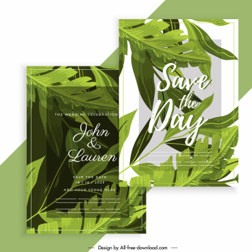 wedding card template green leaves decor
