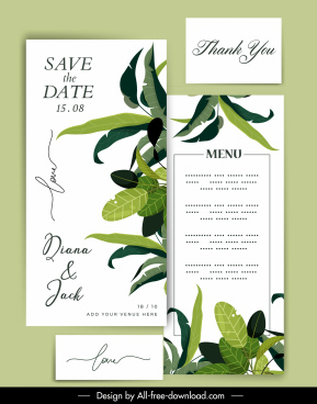 wedding card template green white elegant leaves decor