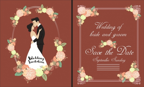 wedding card template groom bride flowers icons ornament