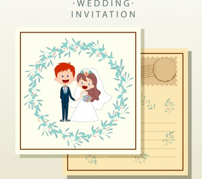 wedding card template groom bride icons classical decor