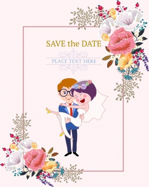 wedding card template happy couple icon flowers decor