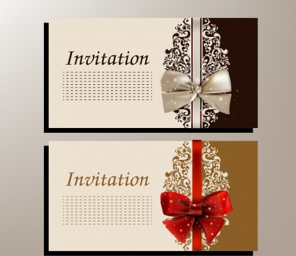 wedding card template knot icon shiny classical design