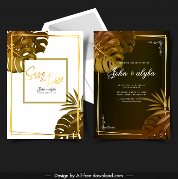 wedding card template leaves decor dark bright design