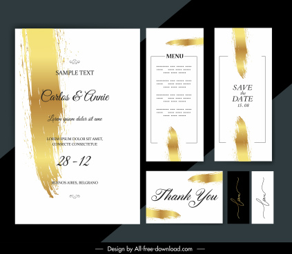 wedding card template modern grunge yellow white design