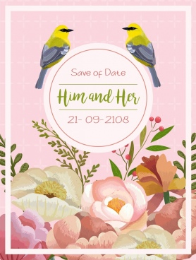 wedding card template multicolored flowers birds icons decor