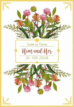 wedding card template multicolored flowers decor reflection design