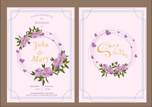 wedding card template purple flowers hearts decoration