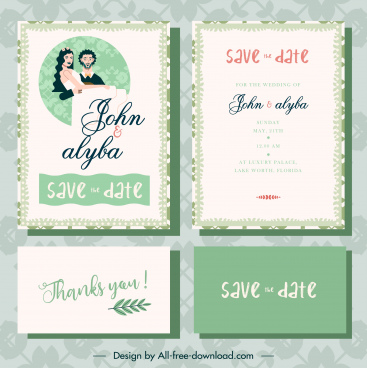 wedding card template retro design couple sketch
